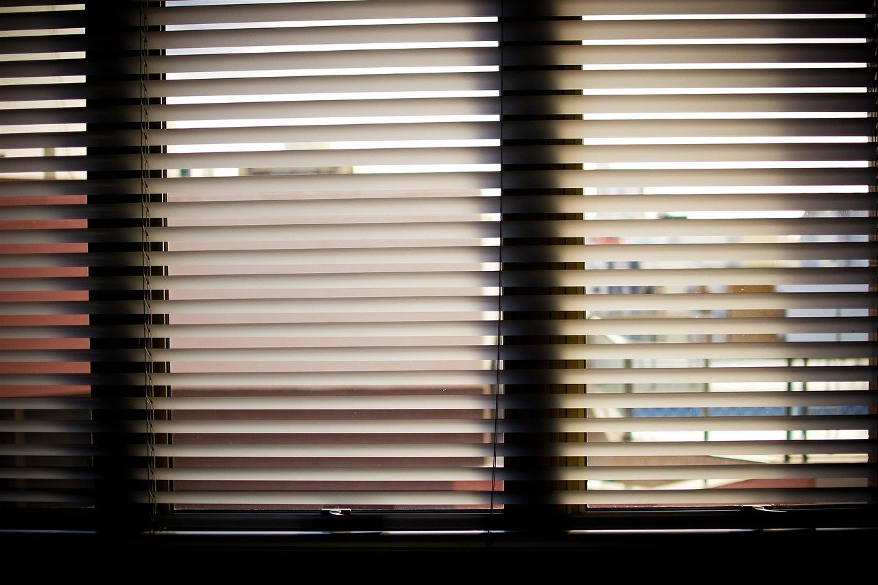 window blinds, office, office window
